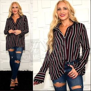 Top Shirt Striped Button Down top